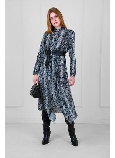 JEANNE D'ARC Piton Desen Uzun Kollu Belden Deri Kemerli Elbise  Gri